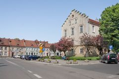 The square in Pyskowice with the town hall and with historic tenement houses. Stock Images