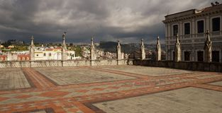 A Square in Quito. Near the Church royalty free stock image