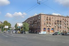 Square before rail station in Yerevan, Armenia Royalty Free Stock Image