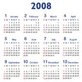 Square-ratio 2008 Calendar. 2008 Year calendar, simple square design on white background - suitable for square layout - also in vector format Royalty Free Stock Image