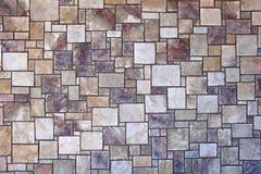 Square Rectangle Mosiac Tile Stone Wall Stock Photo