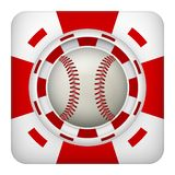 Square red casino chips of baseball sports betting. Square tote symbol red casino chips of sports betting with baseball ball. Bright bookmaker icon of gambling Royalty Free Stock Photo