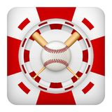Square red casino chips of baseball sports betting. Square tote symbol red casino chips of sports betting with baseball ball. Bright bookmaker icon of gambling Stock Photo
