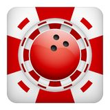 Square red casino chips of bowling sports betting. Square tote symbol red casino chips of sports betting with bowling sphere. Bright bookmaker icon of gambling Royalty Free Stock Photo