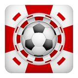 Square red casino chips of soccer sports betting. Square tote symbol red casino chips of sports betting with soccer ball. Bright bookmaker icon of gambling Stock Images