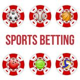 Square red casino chips of soccer sports betting. Square tote symbol red casino chips of sports betting with soccer ball. Bright bookmaker icon of gambling Royalty Free Stock Photos