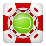 Square red casino chips of tennis sports betting. Square tote symbol red casino chips of sports betting with tennis ball. Bright bookmaker icon of gambling Stock Photos