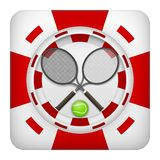 Square red casino chips of tennis sports betting. Square tote symbol red casino chips of sports betting with tennis ball. Bright bookmaker icon of gambling Royalty Free Stock Image