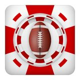 Square red casino chips of usa football sports betting. Square tote symbol red casino chips of sports betting with usa football ball. Bright bookmaker icon of Royalty Free Stock Photo