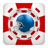 Square red casino chips of usa football sports betting. Square tote symbol red casino chips of sports betting with usa football helmet. Bright bookmaker icon of stock illustration