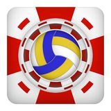 Square red casino chips of volleyball sports betting. Square tote symbol red casino chips of sports betting with volleyball ball. Bright bookmaker icon of Stock Image
