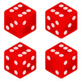 Square red dice object set isolated Stock Photography