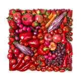 Square of red fruits and vegetables Royalty Free Stock Images