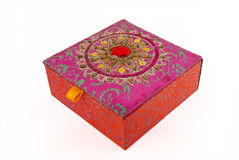 Square red jewellery box Stock Photography