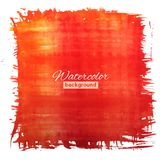 Square red-orange watercolour banner Royalty Free Stock Image