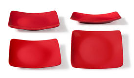 Square red plate Stock Images