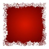 Square red snowflake background. Grungy Christmas, winter snowflake background in red and white. Use of global colors, blends. Snowflakes single objects Royalty Free Stock Photography
