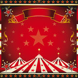 Square red vintage circus. A circus square leaflet for the announcement of your show Stock Images