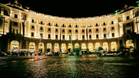 Square of Republic in Rome in Italy at night Stock Image