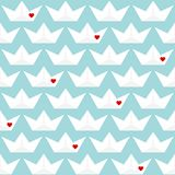 Retro Seamless Pattern Paper Boats With Hearts Blue stock illustration