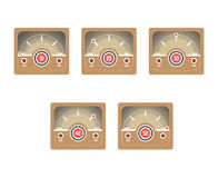 Square retro speedometer that shows Internet traffic set Stock Images
