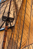 Square rig sails. Fully set sails on a square rigged ship stock photo
