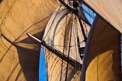 Square rig sails. Sails of full rigged ship under sail stock photos