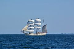 Square-rigged white sailing ship at sea with a distant shore in the background. Square-rigged white sailing ship at sea with a distant shore in the far royalty free stock photo