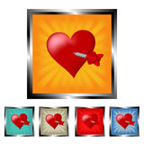 Square right in the heart burst buttons Royalty Free Stock Image