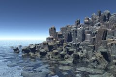 Square rocks. 3d render of a square rocks reef Royalty Free Stock Photography