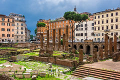 Square in Rome with Roman Temples Royalty Free Stock Photography