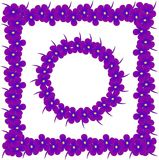 Square and round  flowers frames. Purple, blue violet with yellow center on white background, design element Royalty Free Stock Photography