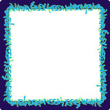 Square rounded frame blue neon graffiti tags on purple Stock Photography