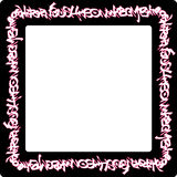 Square rounded frame pink neon graffiti tags on black Stock Photos