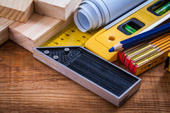 Square ruler pencil blueprints wooden meter and Royalty Free Stock Photography