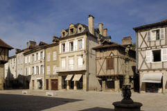 Square in Saint Cere, Lot Valley, France Stock Image