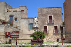 Square of Saint Giuliano church in Erice. Royalty Free Stock Images