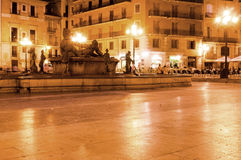 Square of Saint Mary's and fountain Rio Turia at night, Valencia, Spain Stock Photos