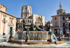 Square of Saint Mary's and fountain Rio Turia. Stock Photo