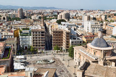 Square of Saint Mary's and fountain Rio Turia. View on the city from Belltower. Royalty Free Stock Photography