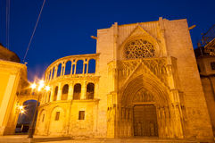 Square of Saint Mary's and Valencia cathedral temple at night, Valencia, Spain Stock Photo