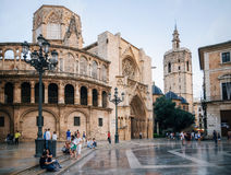 Square of Saint Mary in Valencia Old Town. Valencia, Spain - June 2, 2016: Square of Saint Mary with local and tourists in Valencia Old Town in the evening Royalty Free Stock Photos