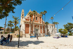 Square at the Saint Peter Church in Old Jaffa, Israel. Royalty Free Stock Images