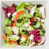 Square Salad. Top view of a square bowl of Mediterranean salad Royalty Free Stock Image