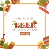 Square sale banner, flyer design with beer objects. Square beer sale banner, flyer design with mug, glass, bottle, hops, fish, sausages, flat vector illustration Stock Photography