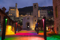 The square of San Giovanni in Gubbio with christmas lights Stock Photography
