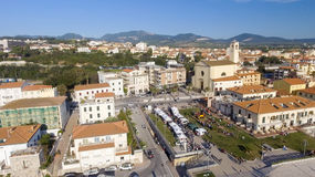 Square of San Vincenzo, aerial view of Tuscany Stock Photos