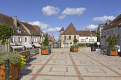 Square at Sancerre in France. Square at Sancerre, medieval hilltop town, commune and canton in the Cher department of central France overlooking the Loire River Stock Photo