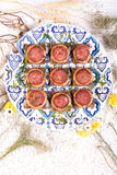 Square Sandwich with sausage with flowers Royalty Free Stock Images