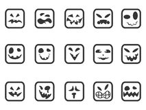 Square scary face icons set Stock Photography